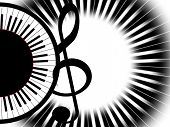 image of treble clef  - Treble clef and keys of the round piano - JPG
