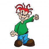 picture of evil  - evil boy with raised fist cartoon illustration - JPG