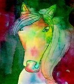 stock photo of batik  - Batik artwork of a horse made by eleven years old child - JPG