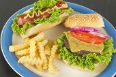 picture of hamburger-steak  - Hamburger with cheese hotdog and crinkle fries - JPG