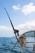 picture of rod  - Fishing rod and reel on a sailing yacht - JPG