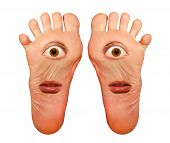foto of amputee  - foot with the eyes and mouth isolated on white background - JPG