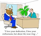 picture of nose piercing  - Business cartoon of boss and manager - JPG