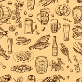 stock photo of drawing beer  - Beer seamless pattern on beige background - JPG