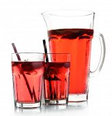 pic of jug  - Full jug and glasses of strawberry juice isolated on white - JPG