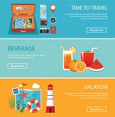 pic of passport template  - travel elements and concept flat banners set - JPG