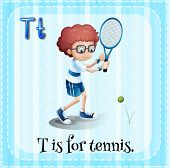 picture of letter t  - Flashcard letter T is for tennis - JPG