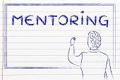 stock photo of mentoring  - mentoring teacher or professional writing on blackboard - JPG