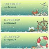 pic of beach shell art  - Summer beach background with sample text - JPG