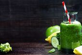 pic of cucumber  - Fresh organic green smoothie with spinach - JPG