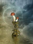 pic of magical-mushroom  - Fantasy landscape in the ocean with mushroom - JPG