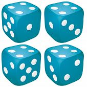 stock photo of crips  - Set of blue casino craps dices with four points dots number on top vector illustration - JPG