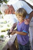 pic of grandfather  - Grandfather And Grandsonon Building Tree House Together - JPG