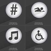 stock photo of hashtag  - Hashtag Swimmer Note Disabled person icon sign - JPG