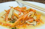 stock photo of korean  - salad with soy asparagus and carrots in Korean
