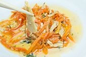 foto of korean  - salad with soy asparagus and carrots in Korean