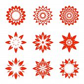 pic of organist  - Set Of Red Geometric Flowers - JPG