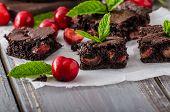 pic of cherry  - Chocolate brownies with cherries homemade with just picked cherries and mint