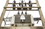 foto of transformer  - close up electric transformer in the factory - JPG