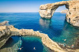 picture of gozo  - The world famous Azure Window in Gozo island  - JPG