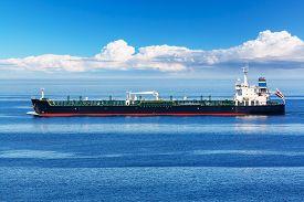 foto of fuel tanker  - Industrial oil and chemical commercial tanker ship vessel in blue ocean - JPG