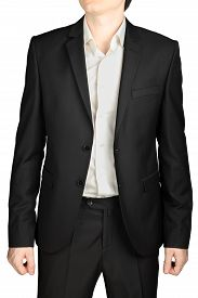 pic of rayon  - Dark gray wedding suit unbuttoned jacket white shirt no tie isolated on a white background - JPG