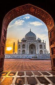stock photo of mumtaj  - Sunrise at Taj Mahal in Agra India - JPG