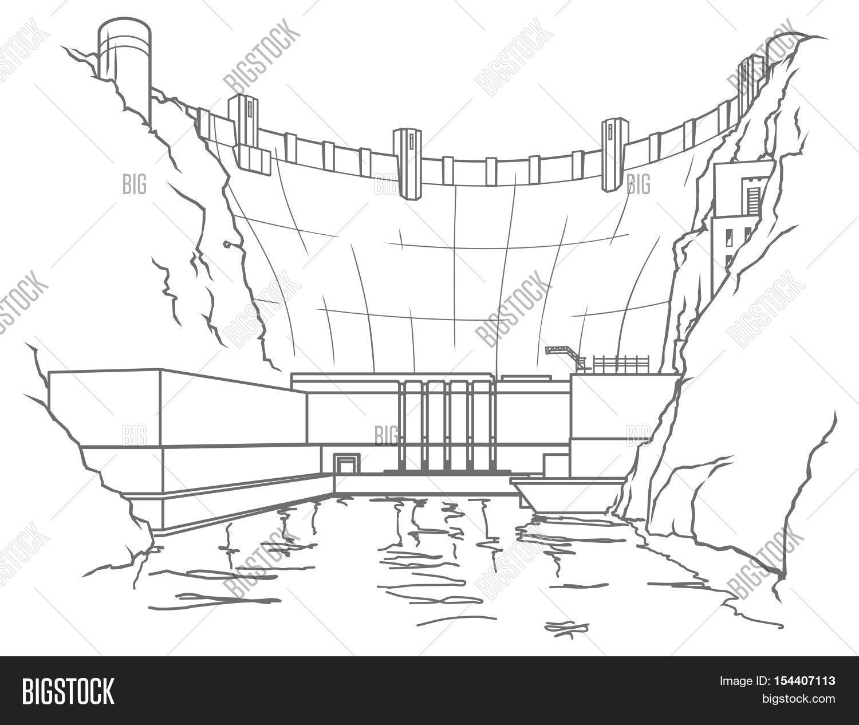 outline illustration hydroelectric image  u0026 photo