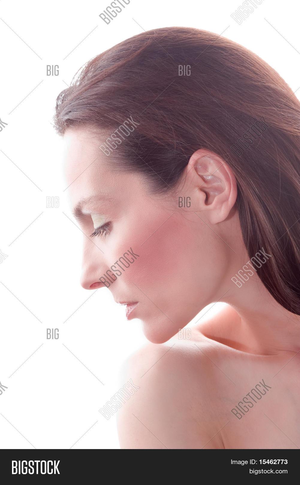 woman face profile view studio image photo bigstock. Black Bedroom Furniture Sets. Home Design Ideas
