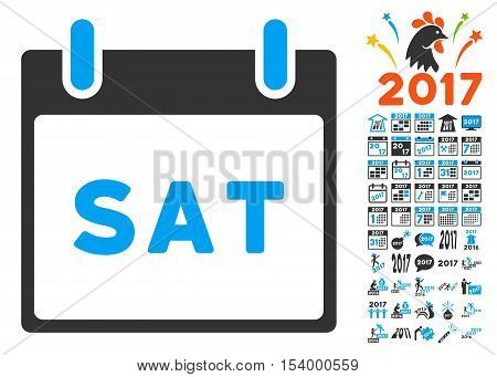 Saturday Calendar Page icon with bonus calendar and time management pictures. Glyph illustration style is flat iconic symbols, blue and gray colors, white background.