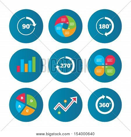 Business pie chart. Growth curve. Presentation buttons. Angle 45-360 degrees circle icons. Geometry math signs symbols. Full complete rotation arrow. Data analysis. Vector