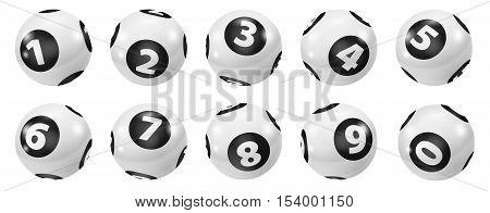 Lottery Number Balls. Black and white balls isolated. Bingo balls set. Bingo balls with numbers. Set of black and white balls. Lotto concept. White Bingo Balls.