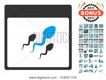 Spermatozoids Calendar Page pictograph with bonus calendar and time management design elements. Glyph illustration style is flat iconic symbols, blue and gray colors, white background.
