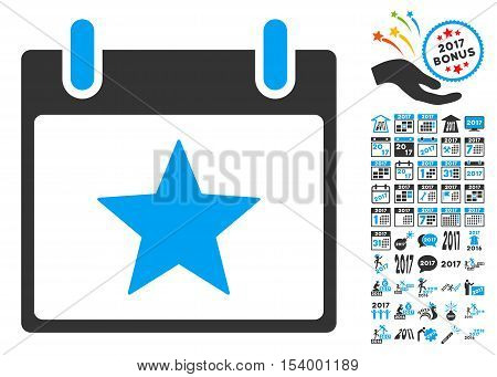 Star Calendar Day pictograph with bonus calendar and time management pictograph collection. Glyph illustration style is flat iconic symbols, blue and gray colors, white background.