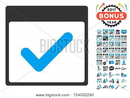 Valid Day Calendar Page icon with bonus calendar and time management pictures. Glyph illustration style is flat iconic symbols, blue and gray colors, white background.
