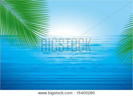 Ocean sunrise. Vector background.