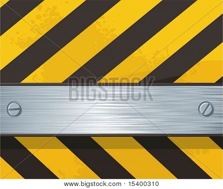 Steel flat bar on construction background.