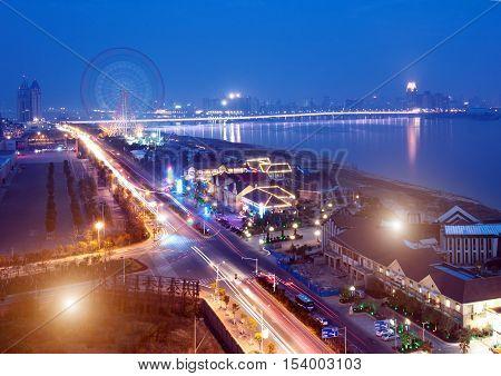 A bird's eye view of modern city roads and bridges.