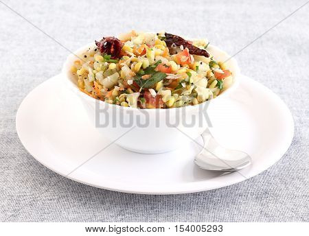 Kosambari, a traditional and popular, south Indian salad made from split mung bean, lentil, cucumber and other items.