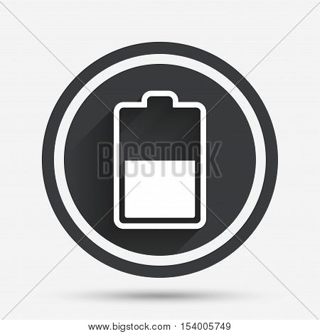 Battery half level sign icon. Low electricity symbol. Circle flat button with shadow and border. Vector
