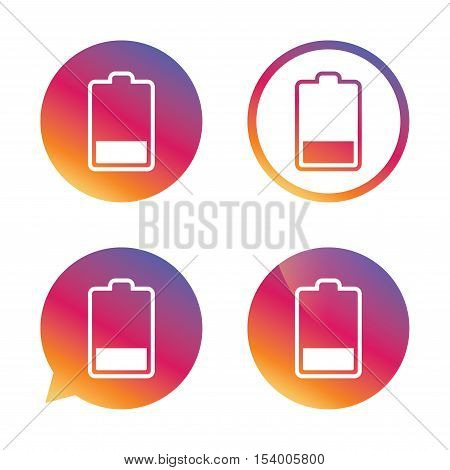Battery low level sign icon. Electricity symbol. Gradient buttons with flat icon. Speech bubble sign. Vector