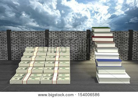 3D Rendering : illustration of success by knowledge concept.ladder to success a business or life by knowledge.Abstract cloudy sky background. Financial growth and education concept.