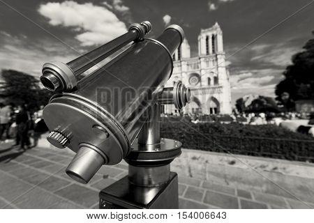 Telescope in NotreDame cathedral Paris Ile-de-France France