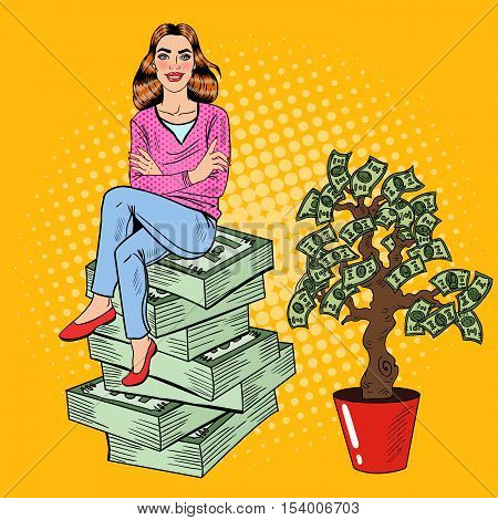 Pop Art Young Rich Woman Sitting on a Stack of Money near Money Tree. Vector illustration