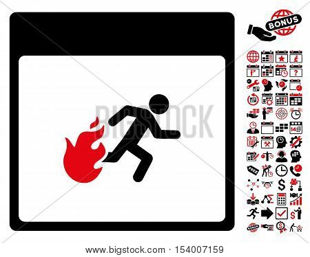 Fire Evacuation Man Calendar Page icon with bonus calendar and time management pictograms. Glyph illustration style is flat iconic symbols, intensive red and black, white background.