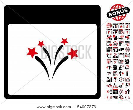 Fireworks Calendar Page pictograph with bonus calendar and time management pictograph collection. Glyph illustration style is flat iconic symbols, intensive red and black, white background.