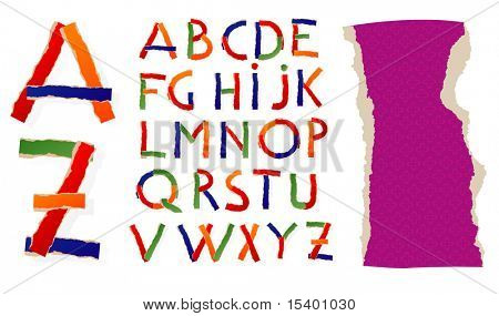 Ripped paper ABC. Vector font.