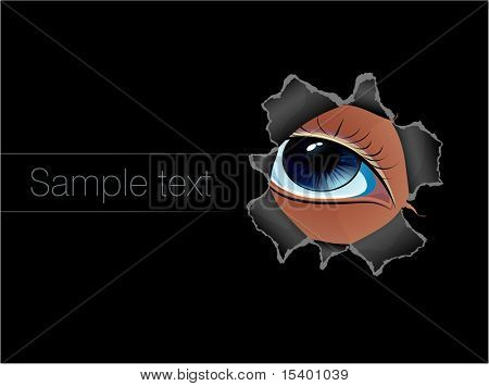 Through torn paper hole. Vector template.