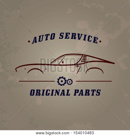Auto service classic car logo. Car service retro banner design concept. Vintage garage poster with car and auto parts. Retro car service sign.
