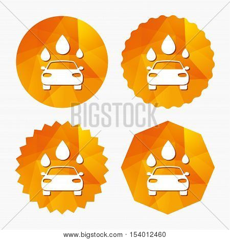 Car wash icon. Automated teller carwash symbol. Water drops signs. Triangular low poly buttons with flat icon. Vector